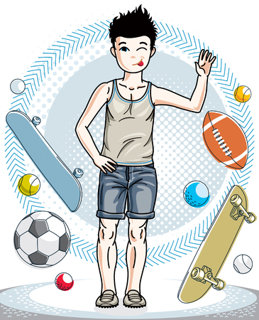 Little boy standing wearing casual clothes. Vector pretty nice human illustration. Fashion and lifestyle theme cartoon.