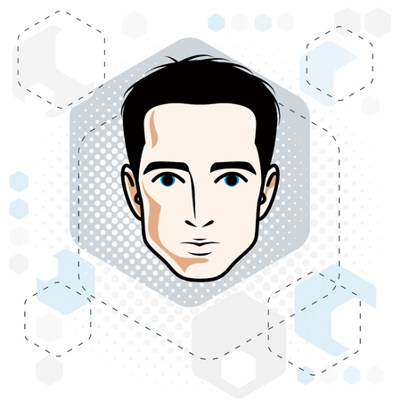 Man face, human head. Vector character, handsome brunet male with stylish haircut. Vettoriali