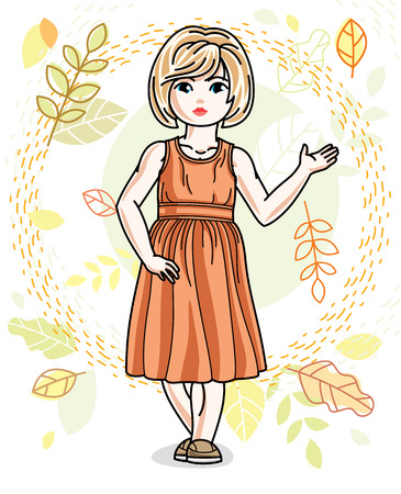 Little fair-haired girl toddler standing on background of autumn landscape and wearing fashionable casual clothes. Vector attractive kid illustration. Fashion and lifestyle theme cartoon. Illustration