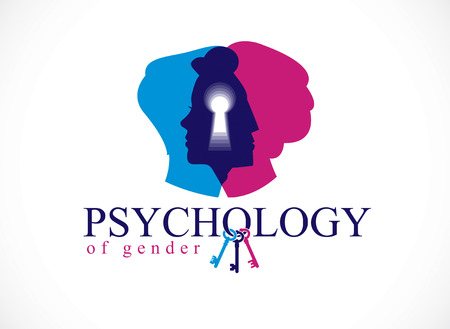 Gender psychology concept created with man and woman heads profiles and keyhole with key of understanding, vector logo or illustration of relationship problems and conflicts in family and society. Illustration