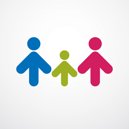Happy family simple vector logo or icon created with people geometric signs. Tender and protective relationship of father, mother and child.