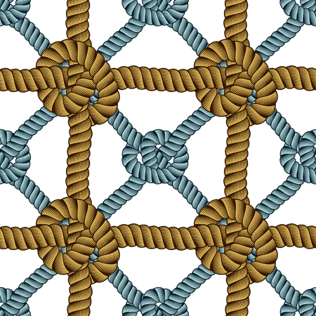 Seamless nautical rope pattern vector. Endless navy illustration with loop cord lines ornament. Cord with knots stylish endless illustration. Usable for fabric, wallpaper, wrapping, web and print.