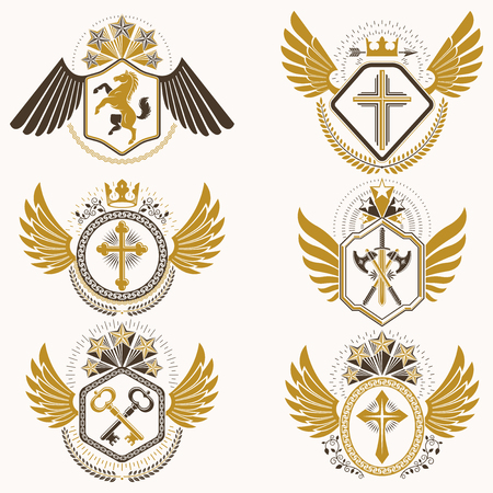 Collection of vector heraldic decorative coat of arms isolated on white and created using vintage design elements, monarch crowns, pentagonal stars, armory, wild animals. Vectores