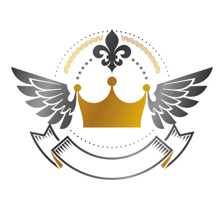 Royal Crown emblem. Heraldic Coat of Arms decorative logo isolated vector illustration. Ancient logotype in old style on white background. Illustration
