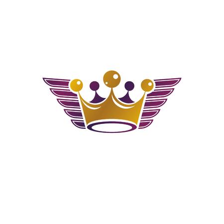 Majestic Crown vector illustration. Heraldic decorative logo. Retro logotype isolated on white background.