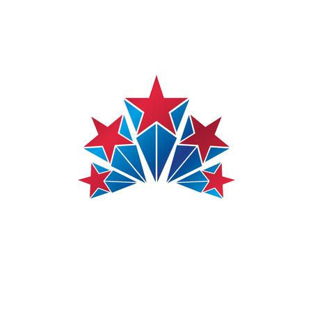 Military Star emblem. Heraldic vector design element, 5 stars guaranty insignia.  Retro style label, heraldry logo.