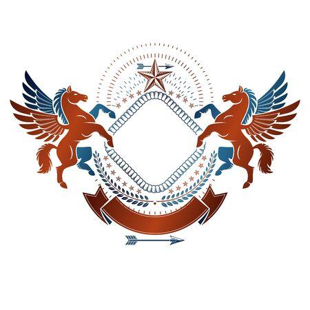 Graphic vintage emblem composed with winged Pegasus ancient animal element, decorative ribbon and pentagonal stars. Heraldic vector design element. Retro style label, heraldry logo.