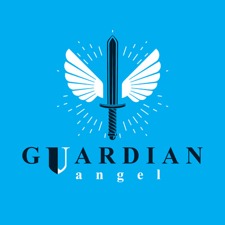 Vector graphic illustration of sword composed with bird wings, war and freedom metaphor symbol. Guardian angel vector abstract emblem. Vektorové ilustrace