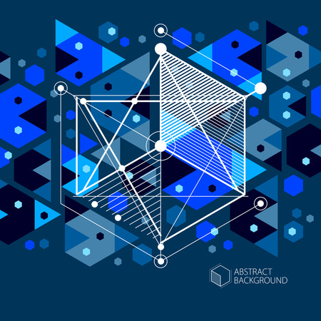 Engineering technological dark blue vector 3D wallpaper made with cubes and lines. Illustration of engineering system, abstract technological backdrop. Abstract technical background.