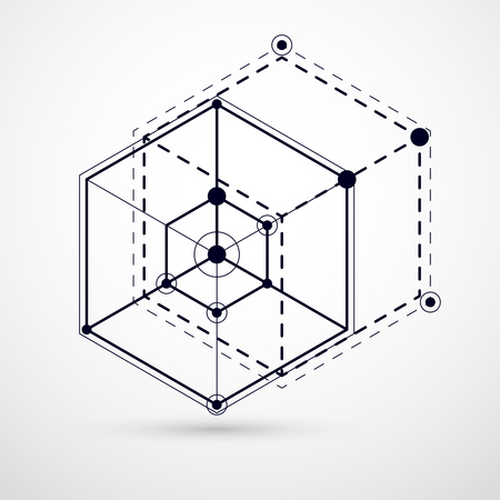 Abstract vector composition with simple geometric figures, symbols, art black and white background. Technical plan, abstract engineering draft for use in graphic and web design.  Illustration