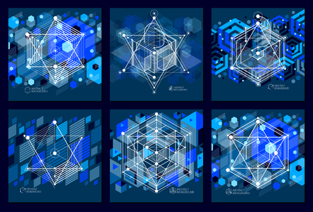 Abstract modern retro blue black 3D backgrounds set, geometric futuristic shapes vector illustration. Abstract scheme of engine or engineering mechanism. Illustration