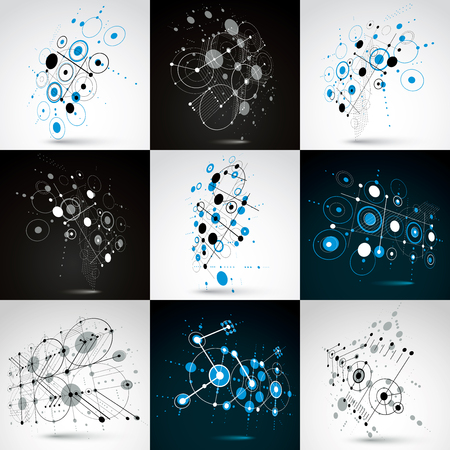 Set of Bauhaus retro wallpapers, art vector backgrounds made using grid and circles. Geometric graphic illustrations can be used as booklet cover design.