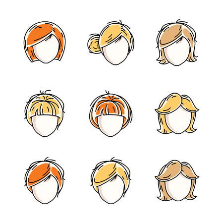 Collection of women faces, human heads. Diverse vector characters like red-haired and blonde females, beautiful ladies visage clipart and user profile. Illustration