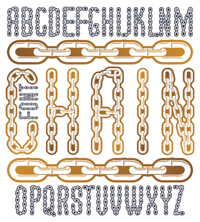 Vector condensed, tall font. Trendy typescript can be used in art creation. Upper case creative letters made with steel chain link, joined link.