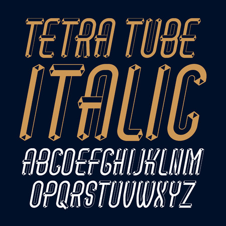 Vector trendy modern capital, uppercase alphabet letters, abc collection. Unlike italic condensed type font, script from a to z can be used for logo creation.