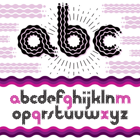 Vector funky lower case English alphabet letters, abc collection. Rounded bold retro type font, script from a to z can be used for logo creation. Made using flow, wavy lines.