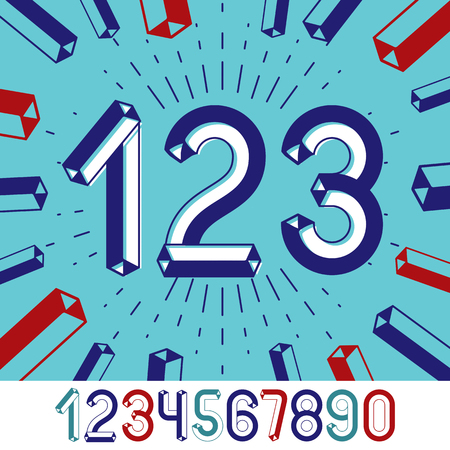 Trendy vintage vector digits, numerals collection. Retro numbers from 0 to 9 can be used in art  poster creation. Created using dimensional tetra pipe. Illustration