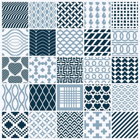 Collection of vector abstract seamless compositions, symmetric ornate backgrounds created with simple geometric shapes. Black and white. Illustration