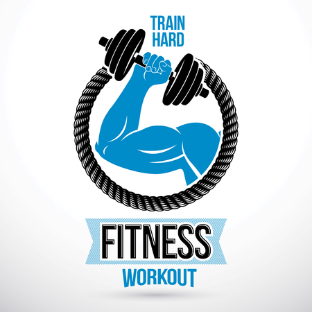 Gym and fitness vector symbol template made using muscular athletic arm holding dumbbell. Illustration
