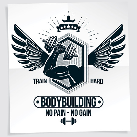 Power lifting competition poster. Vector composition of muscular bodybuilder arm holds disc weight dumbbell sport equipment. No pain, no gain writing.