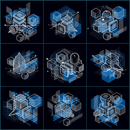 Isometric abstractions with lines and different elements, vector abstract backgrounds. Compositions of cubes, hexagons, squares, rectangles and different abstract elements. Vector set. Illustration