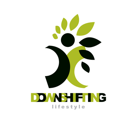 Vector illustration of happy abstract individual with raised hands up. Downshifting concept logo. Vegetarian theme symbol. Green ecology metaphor.