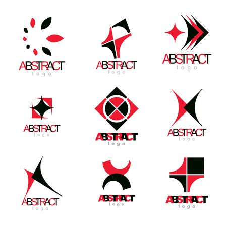 Collection of vector conceptual geometric forms. Corporate business development icons.