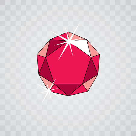 Vector elegant sparkling gem. Glossy diamond icon, symbol. Faceted gemstone illustration.