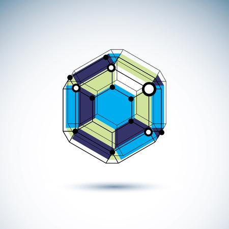 New technology emblem. Vector abstract 3d geometric shape, polygonal figure, illustration. Illustration