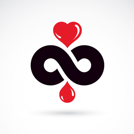 Vector illustration of heart shape, drops of blood and symbol of limitless. Healthcare and medical treatment conceptual logo for use in medical care advertisement.
