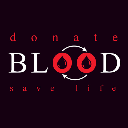 Blood donation vector symbol created with red blood drops and circulation arrows. Volunteer donorship, healthcare and medical treatment conceptual logo. Illustration