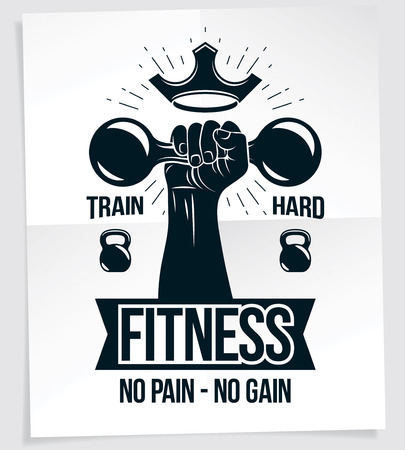 Fitness club advertising poster. Vector composition of muscular bodybuilder arm holds dumbbell sport equipment. No pain, no gain writing. Vectores