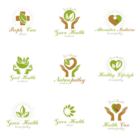Living in harmony with nature metaphor, set of green health idea icon.