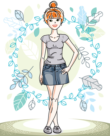Attractive young red-haired woman posing on background of spring landscape and wearing different casual clothes.