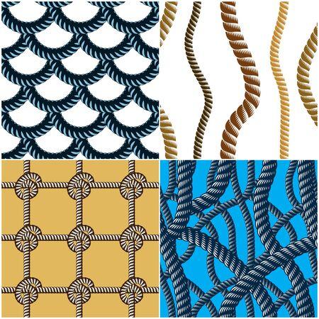 다채로운 밧줄 원활한 패턴 세트 일러스트