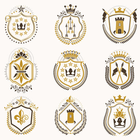 Set of gold and black emblems with decorative crowns, stars and armory Archivio Fotografico - 97875191