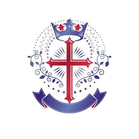 Cross of Christianity graphic emblem. Heraldic vector design element.