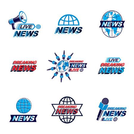 Set of social telecommunication theme logotypes, emblems and posters. Illustration