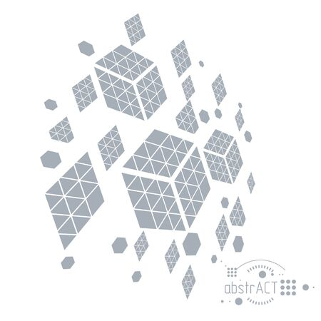 Abstract illustration with and hexagons and cube shaped.