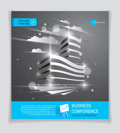 Futuristic building ad, modern vector architecture brochure with blurred lights and glares effect. Real estate realty business center grey design. 3D futuristic facade business conference template.