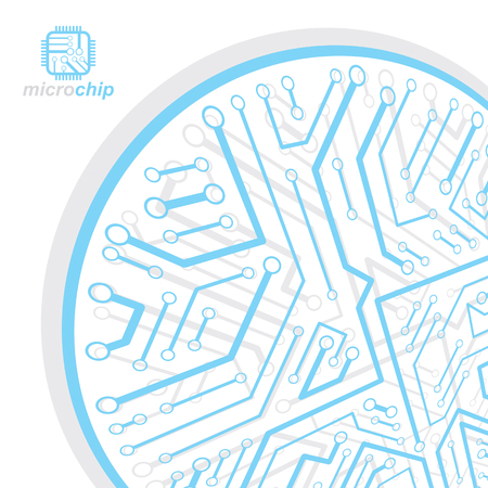 Blue and white microchip illustration on a white background. Illustration