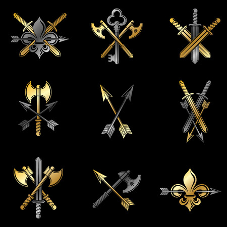 Weapon Emblems set of axes and swords. Banque d'images - 97867333