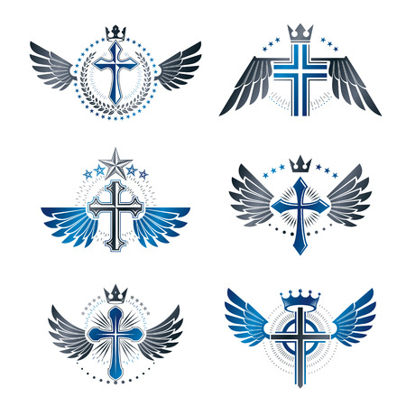 Illustration of crosses with wings emblems set.