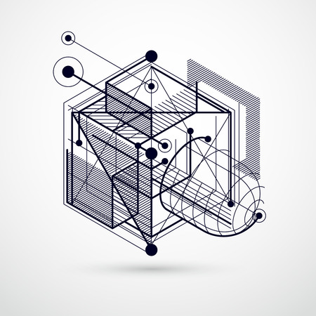 A Vector abstract black and white background created in isometric mesh lines style. Illustration
