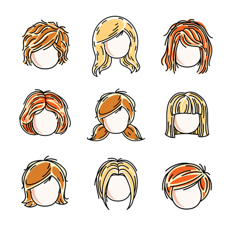 Collection of heads with red-haired and blonde hair.