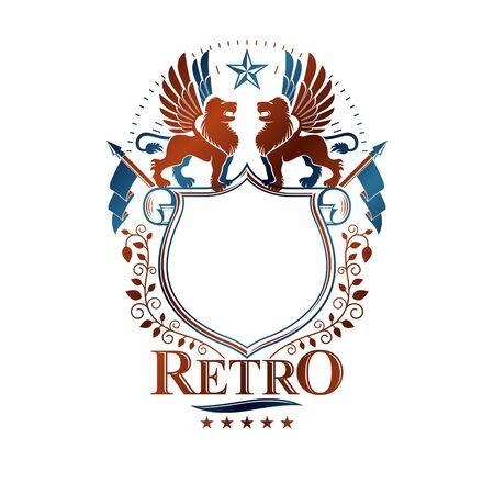 Graphic retro emblem created with Brave Lion King, blank copy-space and pentagonal stars. Heraldic Coat of Arms decorative logo isolated vector illustration.