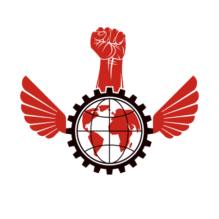 Vector illustration composed with industrial gear, raised clenched fist and Earth globe. Proletarian leader abstract vector illustration, social revolution concept. Illustration