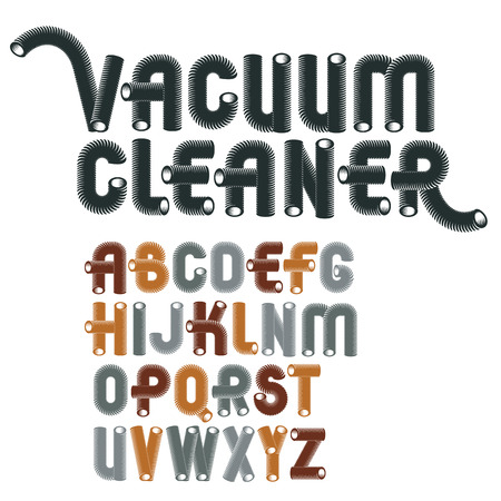 Set of cool vector upper case English alphabet letters isolated. Trendy rounded font, script from a to z can be used in poster creation. Made with 3d cylinder tube design, industry style.