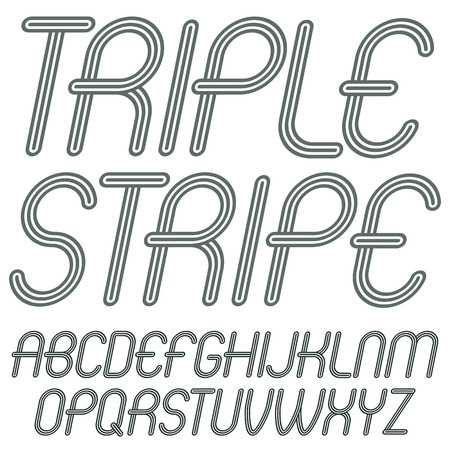 Set of disco vector upper case English alphabet letters isolated. Funky italic rounded font, typescript for use in logo design. Made with triple stripy decoration. Illustration