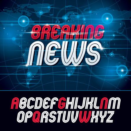 A Vector typescript, for use in logo design for news and broadcasting company. Ilustração